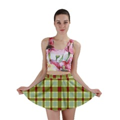 Geometric Tartan Pattern Square Mini Skirt