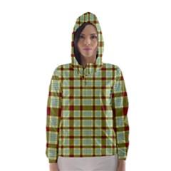 Geometric Tartan Pattern Square Hooded Wind Breaker (Women)