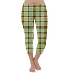 Geometric Tartan Pattern Square Capri Winter Leggings