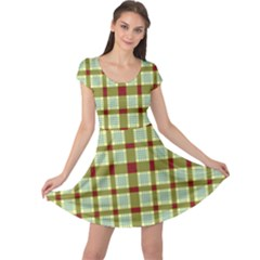 Geometric Tartan Pattern Square Cap Sleeve Dresses