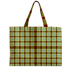 Geometric Tartan Pattern Square Zipper Mini Tote Bag