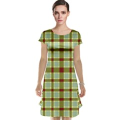 Geometric Tartan Pattern Square Cap Sleeve Nightdress
