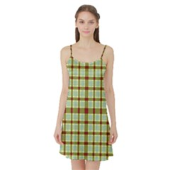 Geometric Tartan Pattern Square Satin Night Slip
