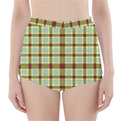 Geometric Tartan Pattern Square High-Waisted Bikini Bottoms