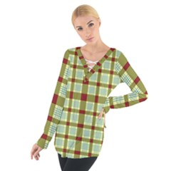Geometric Tartan Pattern Square Women s Tie Up Tee