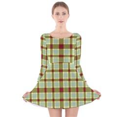 Geometric Tartan Pattern Square Long Sleeve Velvet Skater Dress