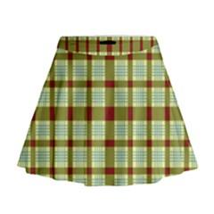 Geometric Tartan Pattern Square Mini Flare Skirt