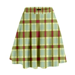 Geometric Tartan Pattern Square High Waist Skirt