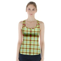 Geometric Tartan Pattern Square Racer Back Sports Top