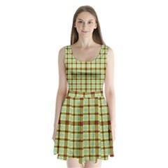 Geometric Tartan Pattern Square Split Back Mini Dress