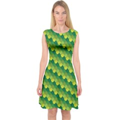Dragon Scale Scales Pattern Capsleeve Midi Dress