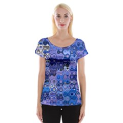 Background Texture Pattern Colorful Women s Cap Sleeve Top