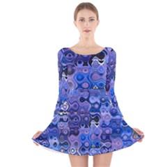 Background Texture Pattern Colorful Long Sleeve Velvet Skater Dress