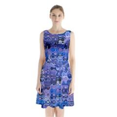 Background Texture Pattern Colorful Sleeveless Chiffon Waist Tie Dress