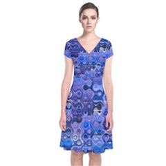 Background Texture Pattern Colorful Short Sleeve Front Wrap Dress
