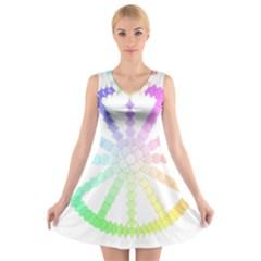 Polygon Evolution Wheel Geometry V Neck Sleeveless Skater Dress