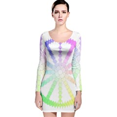 Polygon Evolution Wheel Geometry Long Sleeve Velvet Bodycon Dress