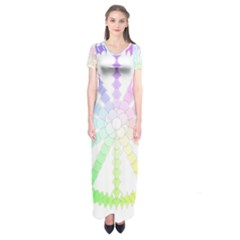 Polygon Evolution Wheel Geometry Short Sleeve Maxi Dress