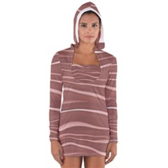 Lines Swinging Texture Background Women s Long Sleeve Hooded T Shirt