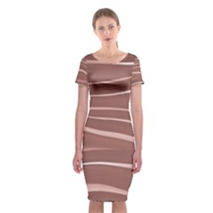 Lines Swinging Texture Background Classic Short Sleeve Midi Dress