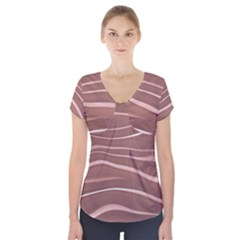 Lines Swinging Texture Background Short Sleeve Front Detail Top