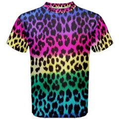 Cheetah Neon Rainbow Animal Men s Cotton Tee