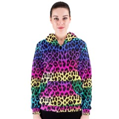Cheetah Neon Rainbow Animal Women s Zipper Hoodie