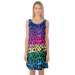 Cheetah Neon Rainbow Animal Sleeveless Satin Nightdress