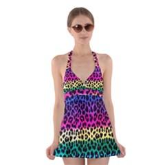 Cheetah Neon Rainbow Animal Halter Swimsuit Dress