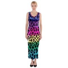 Cheetah Neon Rainbow Animal Fitted Maxi Dress