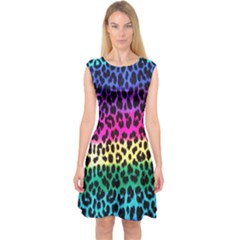 Cheetah Neon Rainbow Animal Capsleeve Midi Dress
