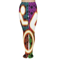 Bike Neon Colors Graphic Bright Bicycle Light Purple Orange Gold Green Blue Women s Tights