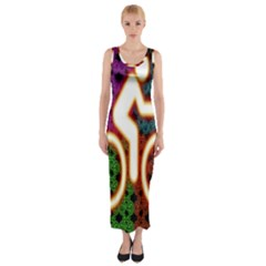 Bike Neon Colors Graphic Bright Bicycle Light Purple Orange Gold Green Blue Fitted Maxi Dress