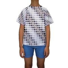 Circle Blue Grey Line Waves Black Kids  Short Sleeve Swimwear