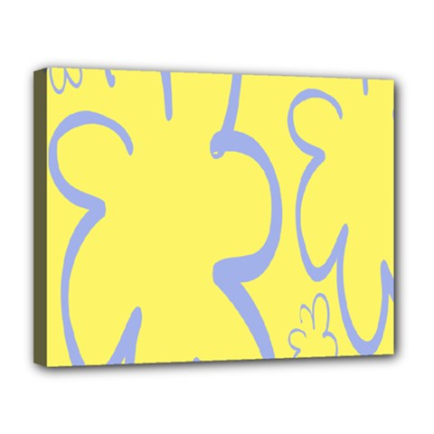 Doodle Shapes Large Flower Floral Grey Yellow Canvas 14  X 11