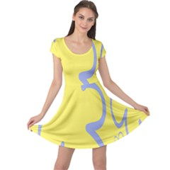 Doodle Shapes Large Flower Floral Grey Yellow Cap Sleeve Dresses