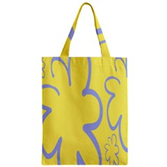 Doodle Shapes Large Flower Floral Grey Yellow Zipper Classic Tote Bag