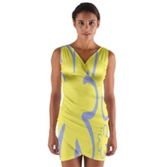 Doodle Shapes Large Flower Floral Grey Yellow Wrap Front Bodycon Dress