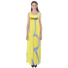 Doodle Shapes Large Flower Floral Grey Yellow Empire Waist Maxi Dress