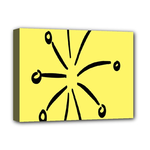 Doodle Shapes Large Line Circle Black Yellow Deluxe Canvas 16  x 12