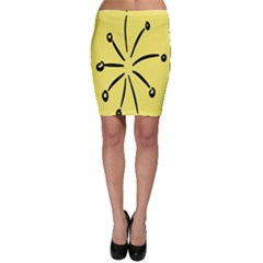 Doodle Shapes Large Line Circle Black Yellow Bodycon Skirt