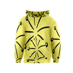 Doodle Shapes Large Line Circle Black Yellow Kids  Pullover Hoodie