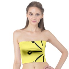 Doodle Shapes Large Line Circle Black Yellow Tube Top
