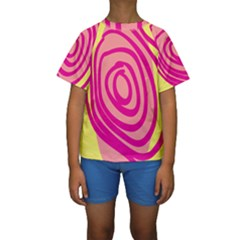 Doodle Shapes Large Line Circle Pink Red Yellow Kids  Short Sleeve Swimwear