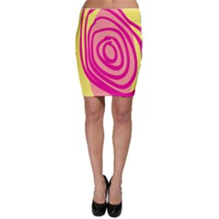 Doodle Shapes Large Line Circle Pink Red Yellow Bodycon Skirt