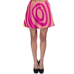 Doodle Shapes Large Line Circle Pink Red Yellow Skater Skirt