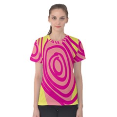Doodle Shapes Large Line Circle Pink Red Yellow Women s Cotton Tee