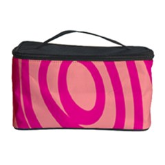 Doodle Shapes Large Line Circle Pink Red Yellow Cosmetic Storage Case