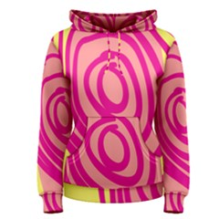 Doodle Shapes Large Line Circle Pink Red Yellow Women s Pullover Hoodie