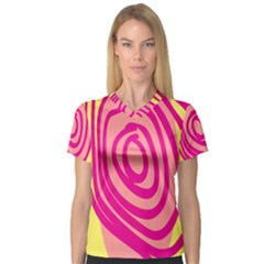 Doodle Shapes Large Line Circle Pink Red Yellow Women s V Neck Sport Mesh Tee